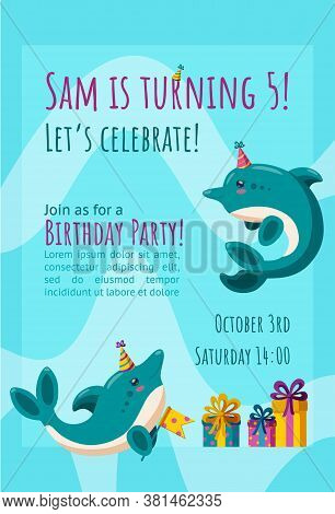 Birthday Invitation Card With Cute Little Dolphins. Ready-made Invitation Design With Presents And B