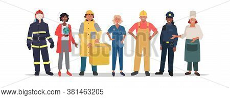 Illustration Of Various Municipal Professions. Group Of Social Municipal Worker With White Backgroun