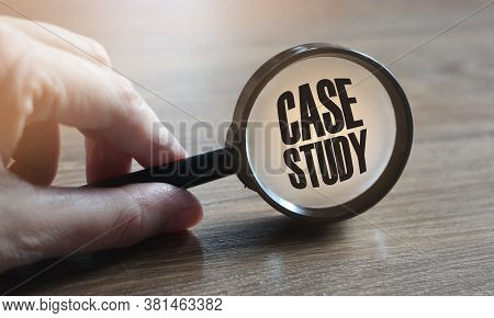Magnifying Glass With Words Case Study. Education And Business Concept