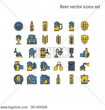 Basic Element Of Beer Vector Icons Set.contains A Bottle, Can, Hop Sign, Barley And Wheat, Fermentat