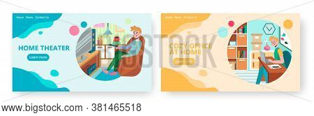 Man Watches Movie On Home Theater. Guy Work With Laptop At Home Office. Concept Illustration. Vector