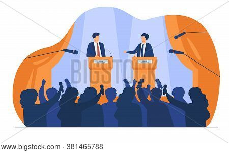 Politicians Talking Or Having Debates In Front Of Audience Flat Vector Illustration. Cartoon Male Pu