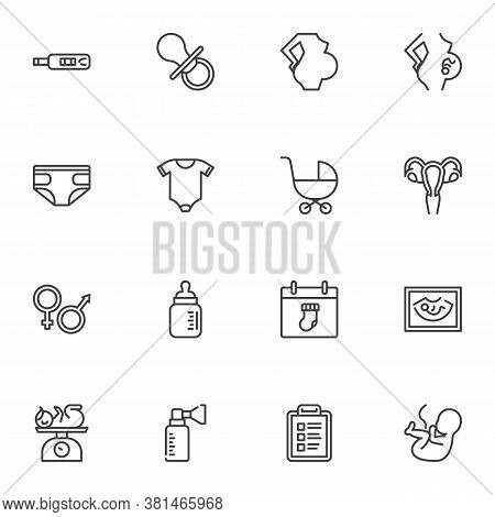 Maternity, Motherhood Line Icons Set, Outline Vector Symbol Collection, Linear Style Pictogram Pack.
