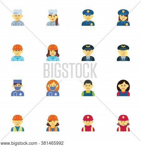 People Profession Avatars Collection, Flat Icons Set, Colorful Symbols Pack Contains - Policeman, Wo