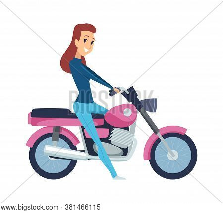 Girl Driver. Cute Woman On Motorcycle. Isolated Cartoon Female Rides Motorbike Vector Illustration.