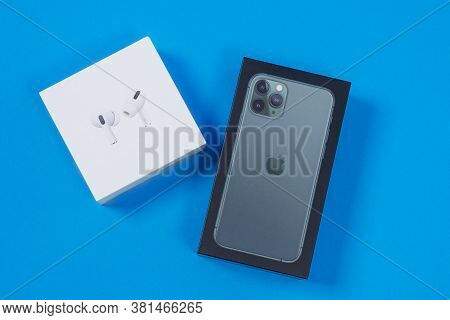 Rostov, Russia - July 06, 2020: Packed Boxes With New Apple Iphone 11 Pro Of Midnight Green Color An