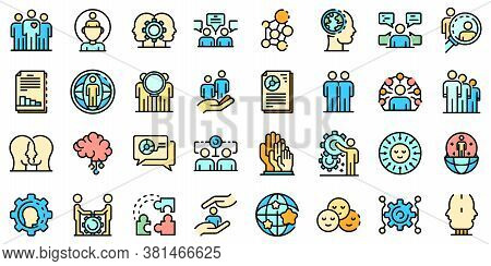 Sociology Icons Set. Outline Set Of Sociology Vector Icons Thin Line Color Flat On White