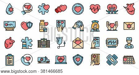 Cardiologist Icons Set. Outline Set Of Cardiologist Vector Icons Thin Line Color Flat On White