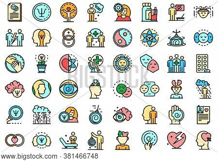 Psychologist Icons Set. Outline Set Of Psychologist Vector Icons Thin Line Color Flat On White