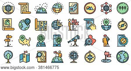 Cartographer Icons Set. Outline Set Of Cartographer Vector Icons Thin Line Color Flat On White