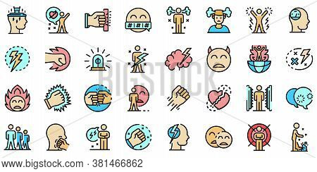 Rage Icons Set. Outline Set Of Rage Vector Icons Thin Line Color Flat On White