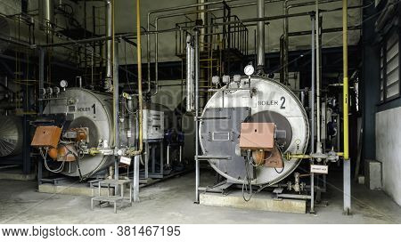 Gas Boiler Room For Steam Production Of Manufacturing Factory
