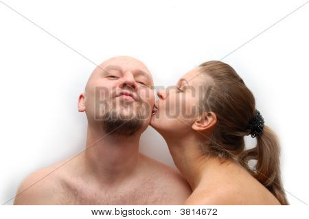 Young Couple Happy Together On White Background
