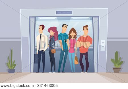 Team In Elevator. Business Crowd Managers Standing In Elevator Bright Office Doors Vector Person. Of