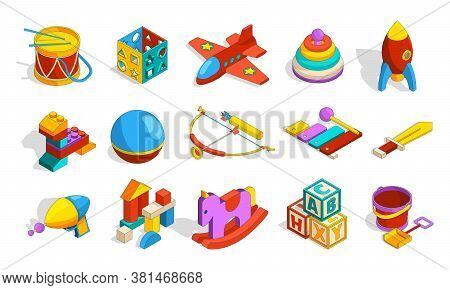 Toys Isometric. Colored Kindergarten Objects For Kids Plastic Preschool Toys Sets Box Blocks Drum Ca