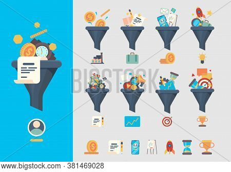 Funnel Generation Sales. Business Generative Models Consumer Identified Commerce Products Vector Sym