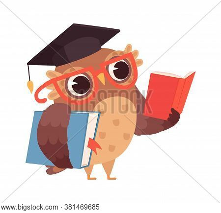 Self Education. Owl Reading Books, Isolated Smart Character. Cartoon Bird With Glasses Studying Vect