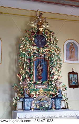 KLANJECKO JEZERO, CROATIA - NOVEMBER 06, 2013: Our Lady's altar in the chapel of Saint George at the Lake in Klanjecko Jezero, Croatia