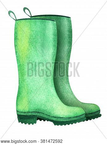 Watercolor Image Of Wellingtons Isolated On White Background. Pair Of Green Rubber Boots With Ribbed