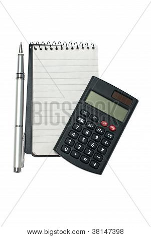 Notebook With Pen And Calculator.
