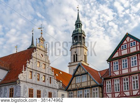 Celle, Niedersachsen / Germany - 3 August 2020: View Of The Old City Hall And St. Marien Church Buil