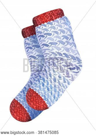 Watercolor Drawing Of Pair Of Patterned Socks Isolated On White Background. Hand Drawn Illustration