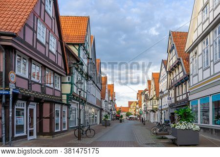 Celle, Niedersachsen / Germany - 3 August 2020: Beautiful Summer Evening In The Historic Old Town Of