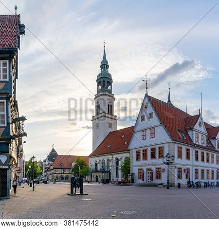 Celle, Niedersachsen / Germany - 3 August 2020: View Of The St. Marien Church In The Historic City C