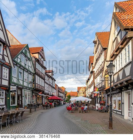 Celle, Niedersachsen / Germany - 3 August 2020: People Enjoy A Beautiful Summer Evening Out In The S