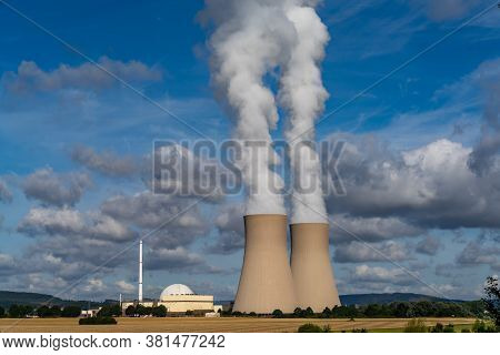 Grohnde, Lower Saxony / Germany - 3 August 2020: View Of The Grohnde Nuclear Power Plant In Emmertha