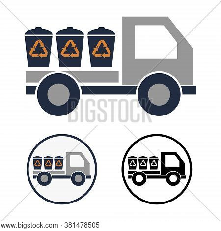 Simple Vector Round Icon Of A Truck With Three Garbage Cans In The Back. Schematic Clipart Of A Mach