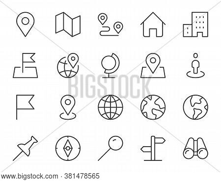 Location Line Icon. Minimal Vector Illustration With Simple Thin Outline Icons As Map, Pin, Travel,