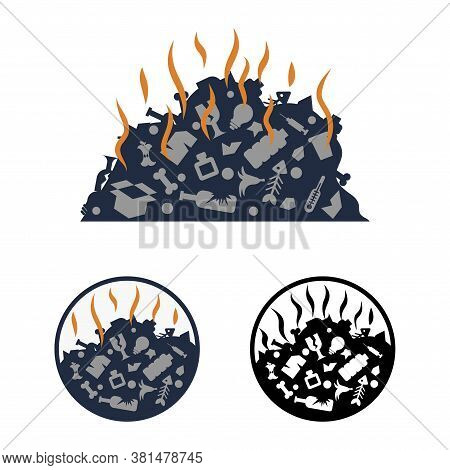 Simple Flat Vector Clipart Of A Smelly Dump With Assorted Unsorted Waste. A Pile Of Miscellaneous Ga