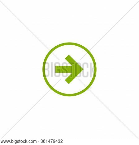 Green Right Arrow In Circle. Flat Icon Isolated On White. Continue Icon.