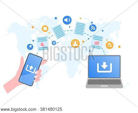File Transfer. Hand Holding Smartphone And Documents Transferred To Laptop. File Or Document Sharing
