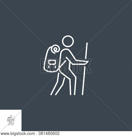 Backpacker Icon. Backpacker Related Vector Line Icon. Isolated On White Background. Editable Stroke.