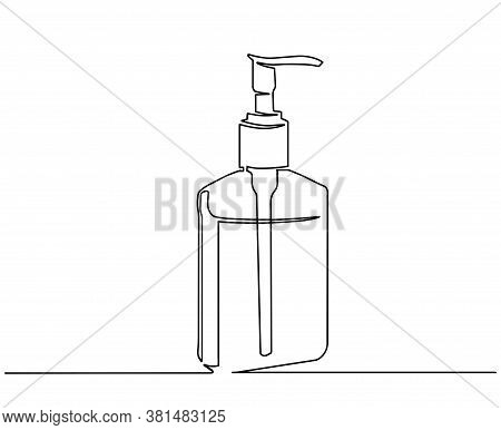 Bottle With Liquid Soap.continuous One Line Drawing. Spray Bottle One Line Drawing On White Isolated