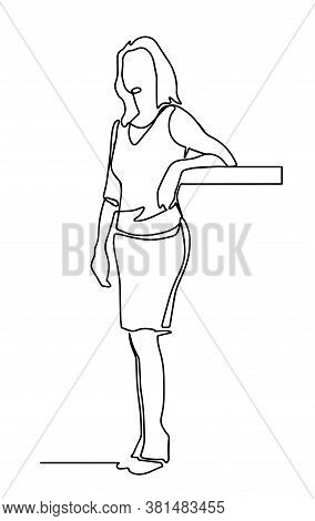 Continuous One Line Drawing Of Manager Standing. Business Woman In Skirt Standing. Profecional Worke