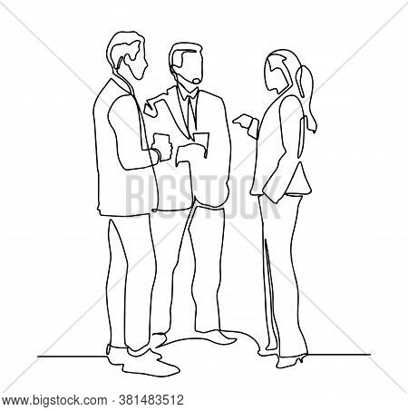 Continuous Line Drawing Of Business Resume, Presentation Or Training. Template For Your Design Work.