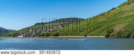 River Lock And Village Of Enkirch In The Mosel Valley With Vineyards On The Hillsides