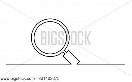 The Magnifying Glass Is Drawn With A Single Line. One Line Drawing. Continuous Line. Vector Eps10. M