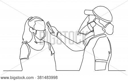Medical Staff Check Body Temperature At Woman. Continuous One Line Drawing. Vector Illustration Covi