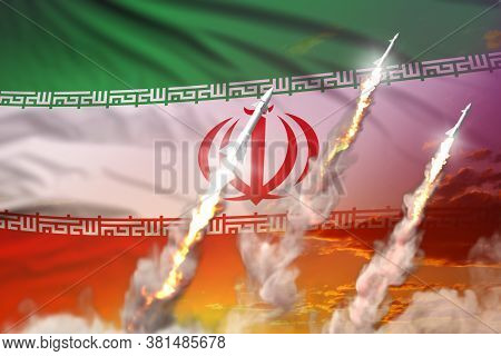 Modern Strategic Rocket Forces Concept On Sunset Background, Iran Nuclear Warhead Attack - Military