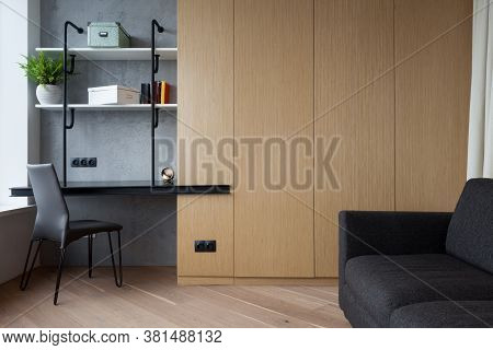New Modern House With Contemporary Interior Design In Living Room, Comfortable Sofa, Wardrobe Closet