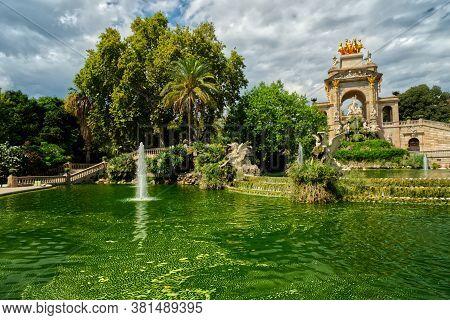 Monumental Cascade Fountain In Barcelona Called