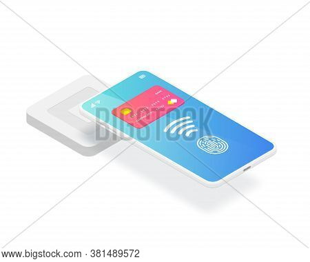 Isometric Emv Chip Credit Card Square Reader. Secure Cashless Payment Via Smartphone Vector Illustra