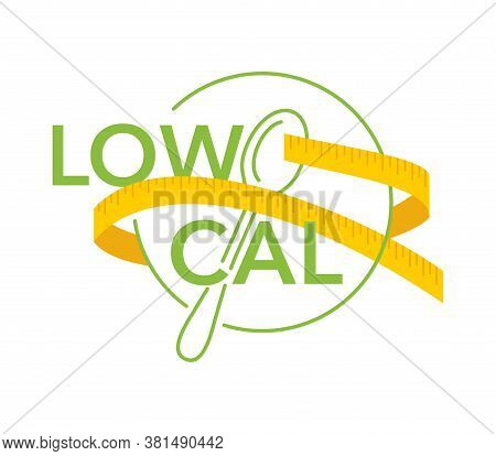 Low Cal Stamp - Plate With Spoon And Measuring Tape Around - Pictogram For Dietary Low-cal Food Prod