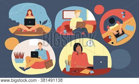 Freelance Work, Remote Job And Self-employment Concept. Set Of Busy Freelancers Handsome People Men
