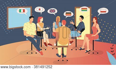 Concept Of English School Or Speaking Club. Male And Female Characters Sitting Indoors And Communica