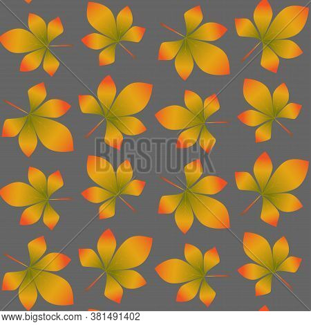Autumn Pattern Of Colorful Chestnut Leaves. Design Of Wrappers, Textiles, Boxes. Seamless Colorful A
